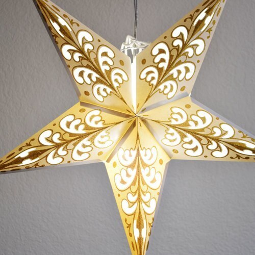 "3-PACK + Cord | Gold Glitter Wave 24"" Illuminated Paper Star Lanterns and Lamp Cord Hanging Decorations"