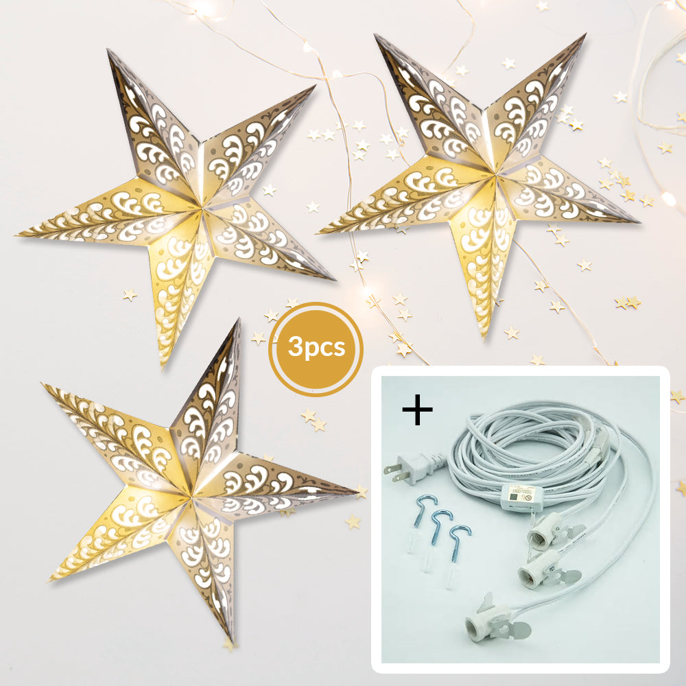 "3-PACK + Cord | Silver Glitter Wave 24"" Illuminated Paper Star Lanterns and Lamp Cord Hanging Decorations"