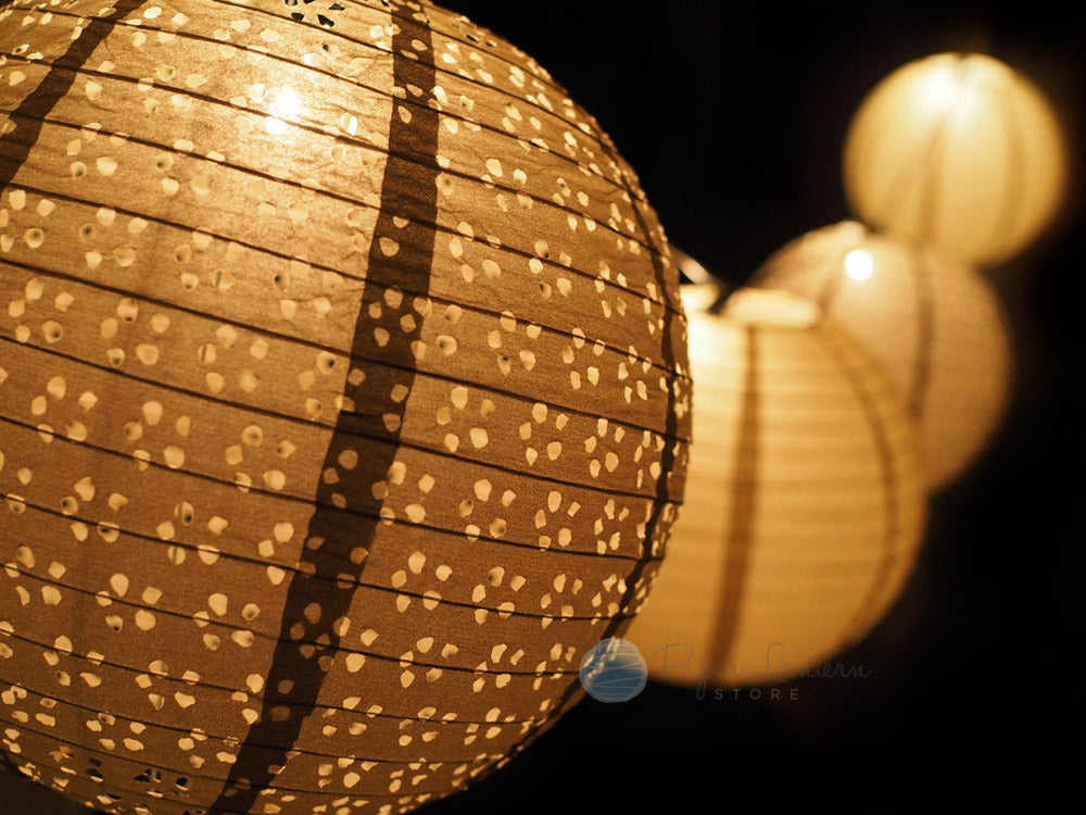 "8"" Wedding Gold Eyelet Paper Lantern String Light COMBO Kit (12 FT, EXPANDABLE, White Cord)"
