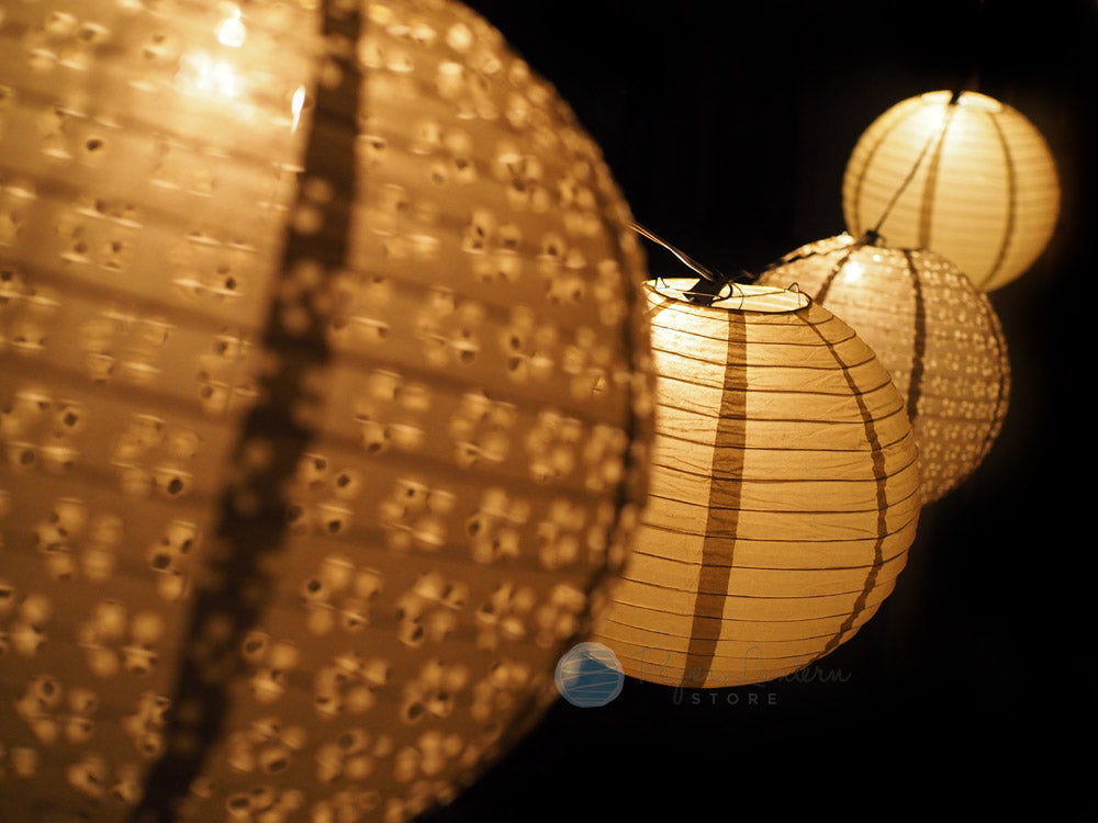 "8"" Wedding Gold Eyelet Paper Lantern String Light COMBO Kit (12 FT, EXPANDABLE, White Cord) - PaperLanternStore.com - Paper Lanterns, Decor, Party Lights & More"