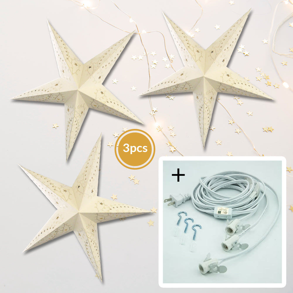 "3-PACK + Cord | White Embroidery 24"" Illuminated Paper Star Lanterns and Lamp Cord Hanging Decorations"