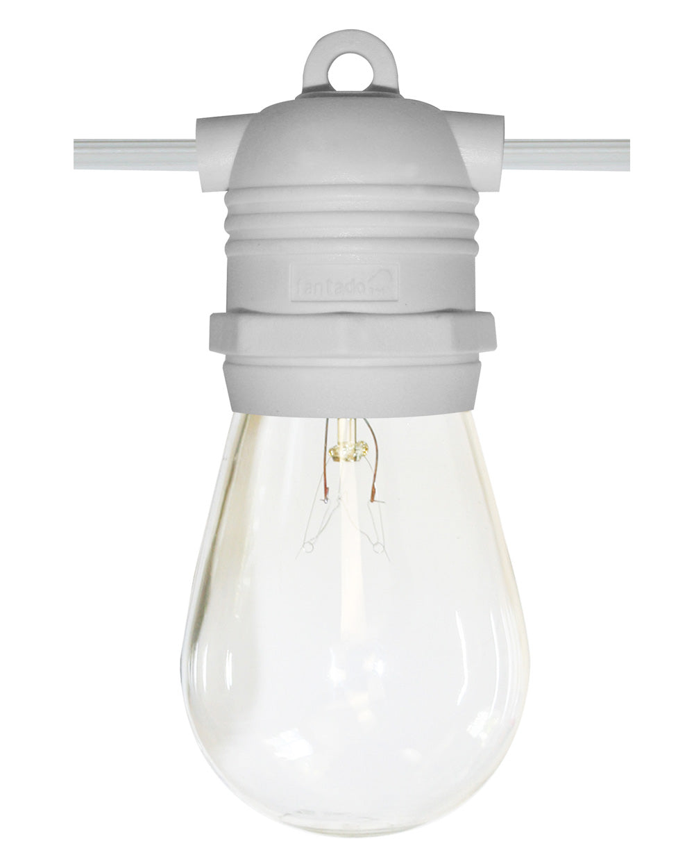 24 Socket Outdoor Commercial String Light Set, S14 Bulbs, 54 FT White Cord w/ E26 Medium Base, Weatherproof