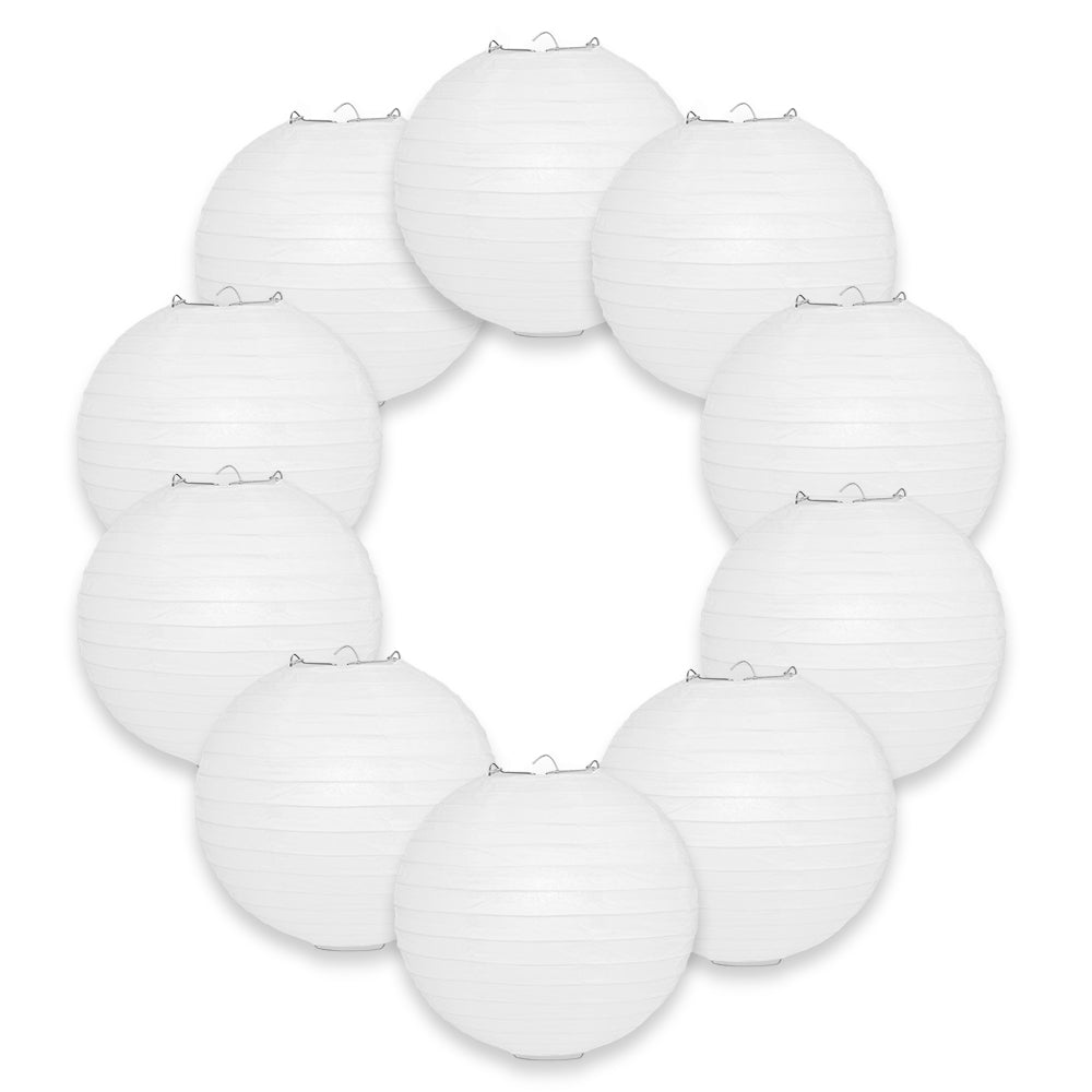 "BULK PACK (10) 10"" White Round Paper Lanterns, Even Ribbing, Hanging Decoration"