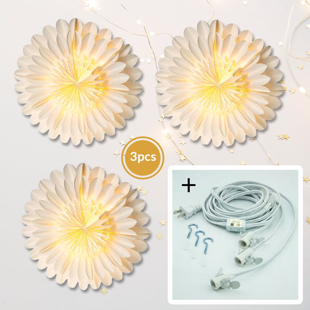 "3-PACK + Cord | White Fiore 16"" Pizzelle Designer Illuminated Paper Star Lanterns and Lamp Cord Hanging Decorations"