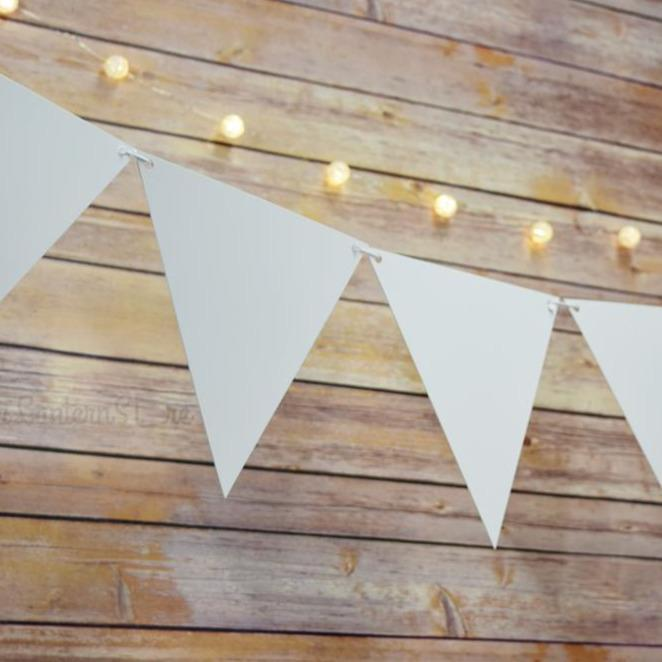 White Large Triangle Flag Pennant Banner (11FT) - PaperLanternStore.com - Paper Lanterns, Decor, Party Lights & More