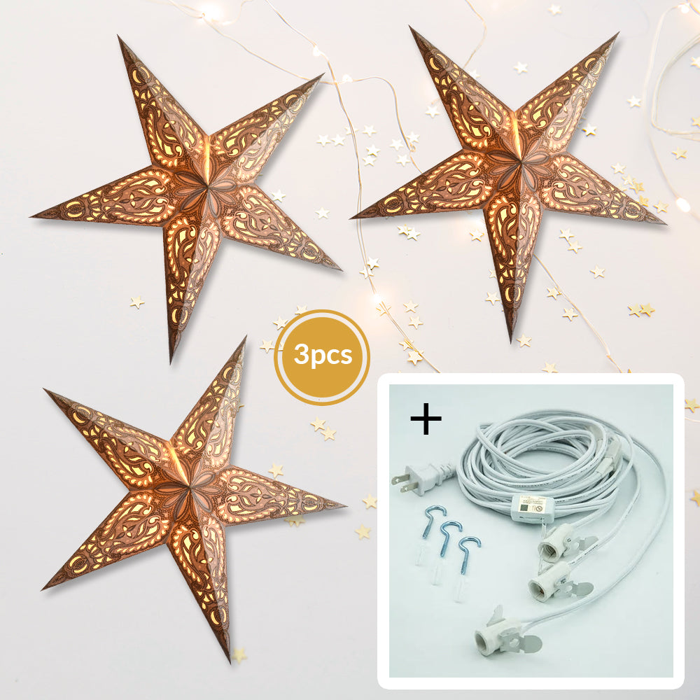 "3-PACK + Cord | Gold Alaskan Glitter 24"" Illuminated Paper Star Lanterns and Lamp Cord Hanging Decorations"