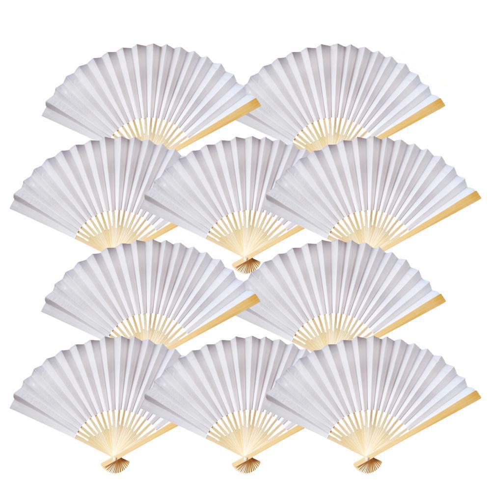 "9"" White Paper Hand Fans for Weddings, Premium Paper Stock (10 Pack)"