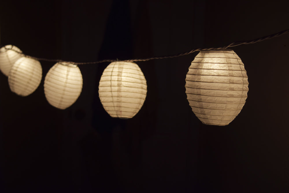White Kawaii Shaped Paper Lantern String String Lights (8FT, Expandable)