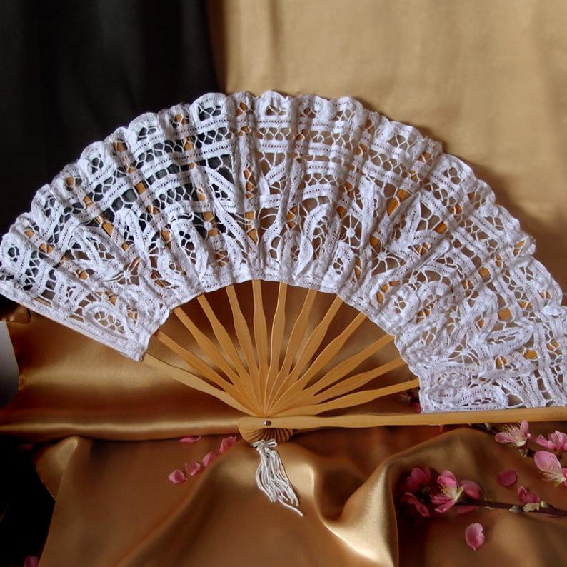 "BLOWOUT 11"" White Lace Hand Fan for Weddings"