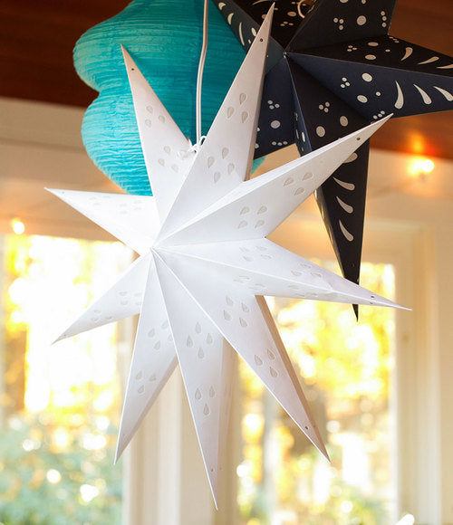 "3-PACK + Cord | White Nova 9 Point 20"" Illuminated Paper Star Lanterns and Lamp Cord Hanging Decorations"