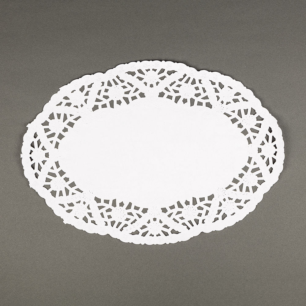 "BLOWOUT 9"" Oval White Lace Paper Doilies Disposable Party Table Decor (50-PACK)"