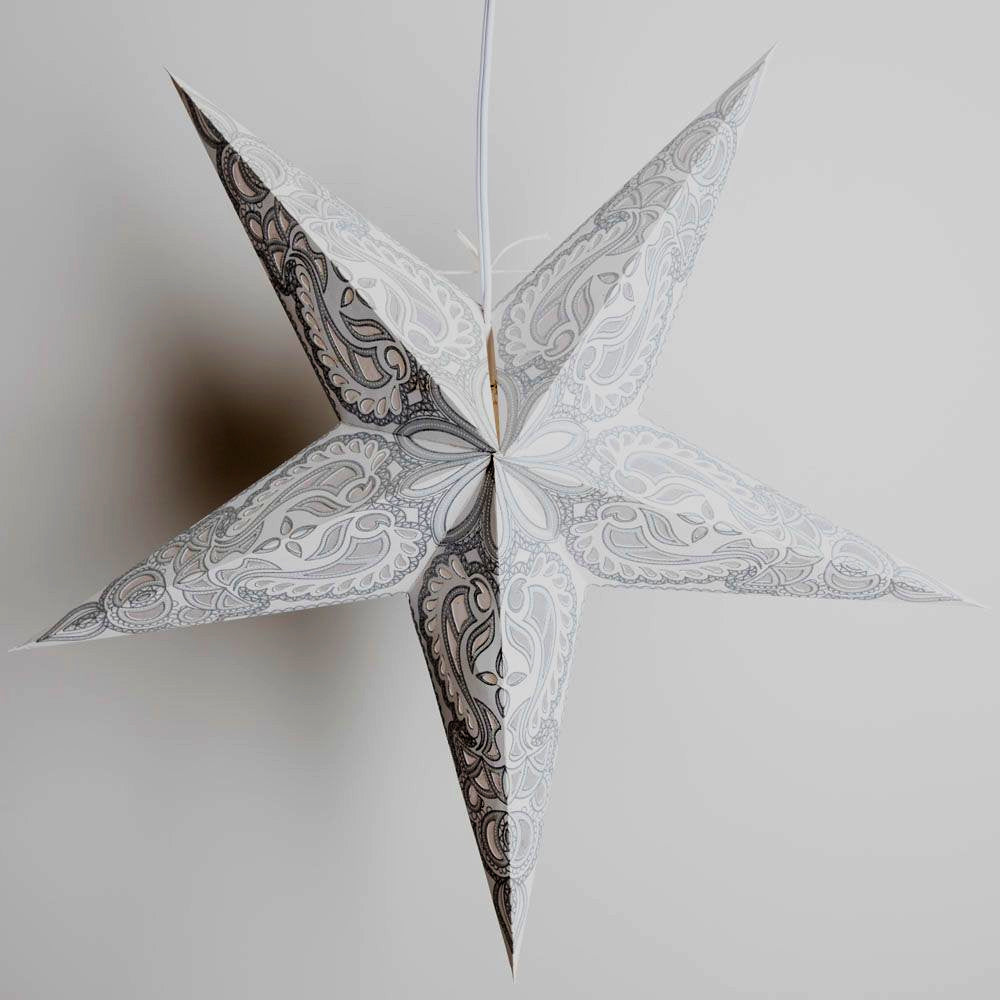 "BLOWOUT 24"" White Gray Alaskan Silver Glitter Paper Star Lantern, Hanging Decoration"