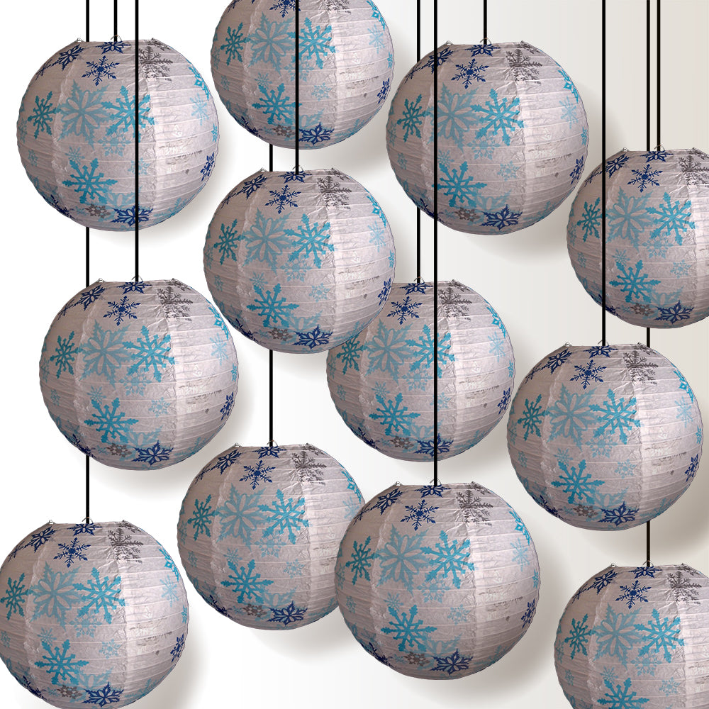 "12 PACK | 14"" White Snowflake Christmas Holiday Paper Lantern - PaperLanternStore.com - Paper Lanterns, Decor, Party Lights & More"
