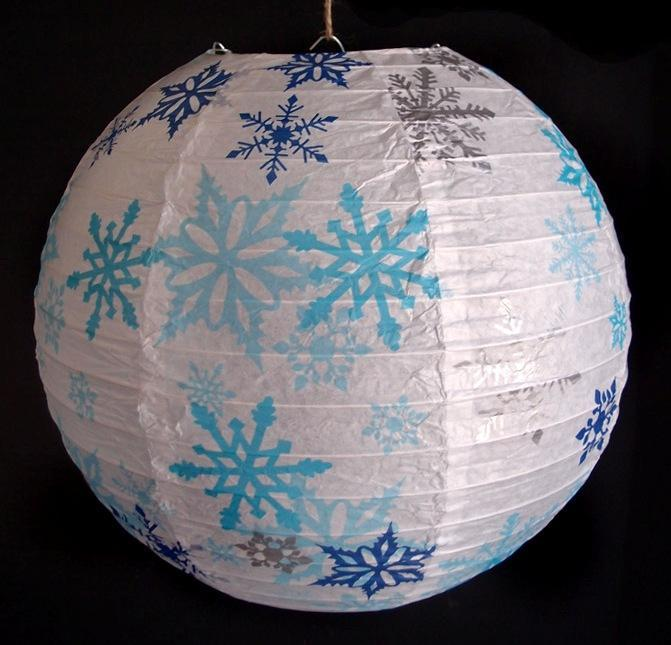 "14"" White Snowflake Christmas Holiday Paper Lantern - PaperLanternStore.com - Paper Lanterns, Decor, Party Lights & More"