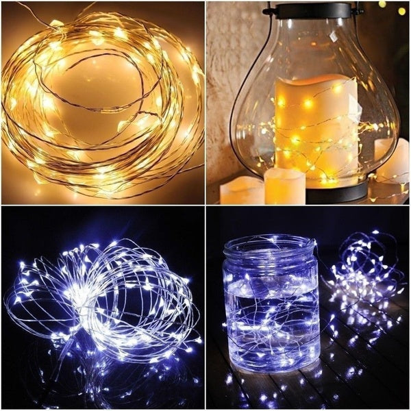 7.5 FT|20 LED Battery Operated Cool White Fairy String Lights With Silver Wire