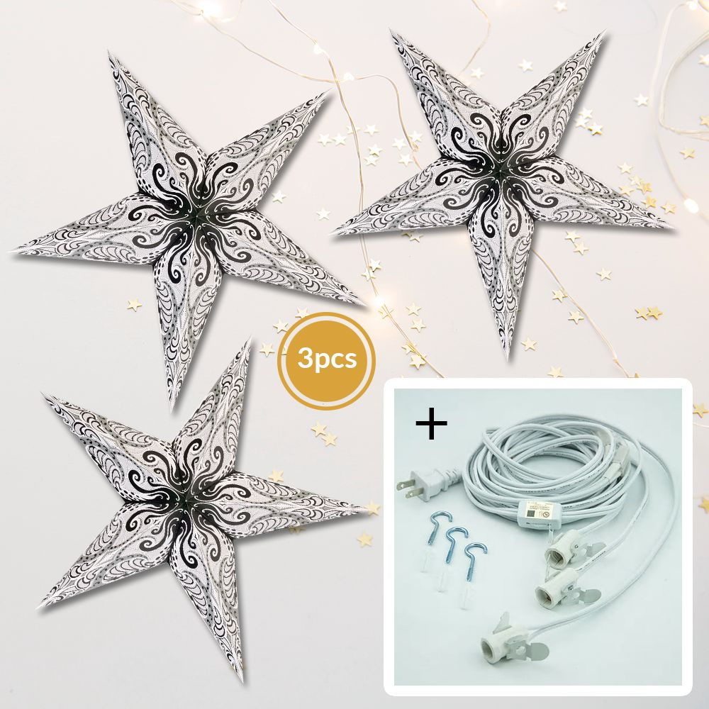 "3-PACK + Cord | White Splash 24"" Illuminated Paper Star Lanterns and Lamp Cord Hanging Decorations"