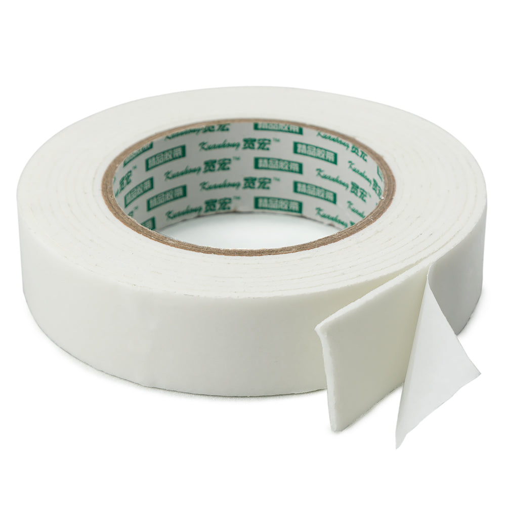 "Wide Thick Double-Sided Sticky Foam Tape, 0.10"" Thick, 1.25"" Wide x 118"" Long"