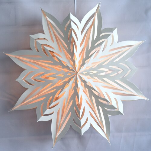 "3-PACK + Cord | White Winter Rune 18"" Pizzelle Designer Illuminated Paper Star Lanterns and Lamp Cord Hanging Decorations"