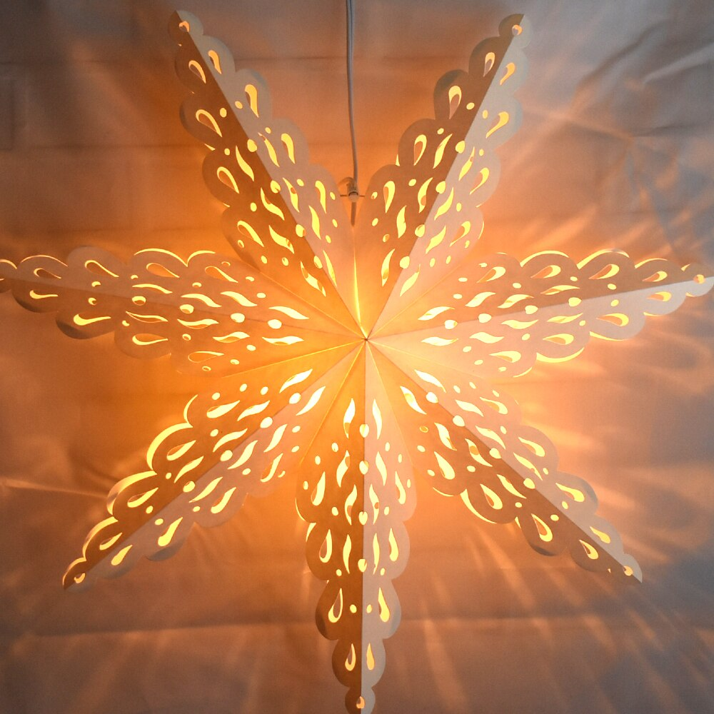 "3-PACK + Cord | White Winter Holiday Spirit 24"" Pizzelle Designer Illuminated Paper Star Lanterns and Lamp Cord Hanging Decorations"