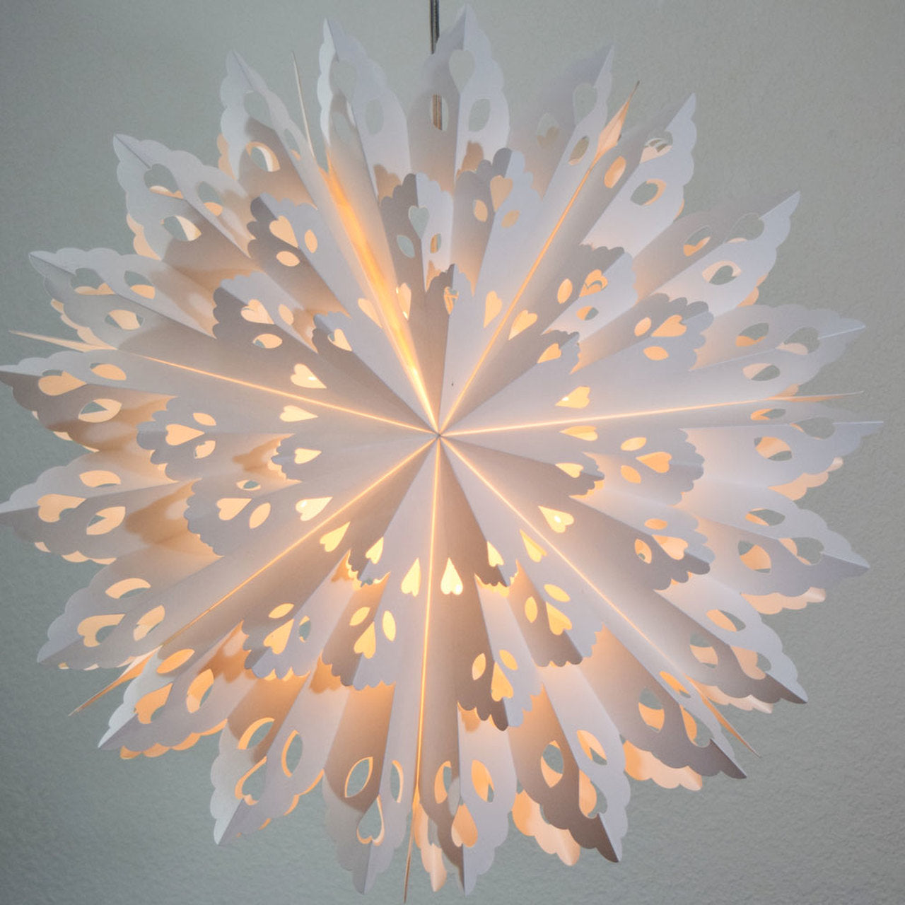 "3-PACK + Cord | White Winter Wreath 24"" Pizzelle Designer Illuminated Paper Star Lanterns and Lamp Cord Hanging Decorations - PaperLanternStore.com - Paper Lanterns, Decor, Party Lights & More"