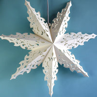 "3-PACK + Cord | White Winter North Star 30"" Pizzelle Designer Illuminated Paper Star Lanterns and Lamp Cord Hanging Decorations"