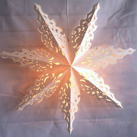 "3-PACK + Cord | White Winter North Star 32"" Pizzelle Designer Illuminated Paper Star Lanterns and Lamp Cord Hanging Decorations"