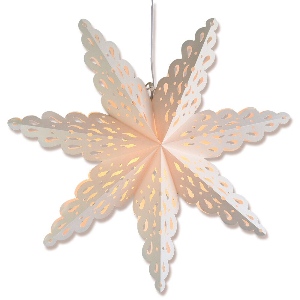 "3-PACK + Cord | White Winter Holiday Spirit 32"" Pizzelle Designer Illuminated Paper Star Lanterns and Lamp Cord Hanging Decorations"