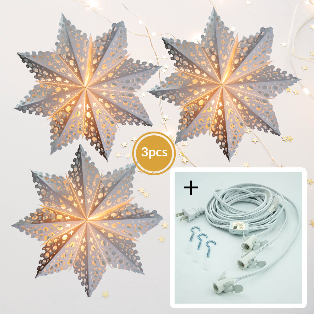 "3-PACK + Cord | White Winter Solstice 32"" Pizzelle Designer Illuminated Paper Star Lanterns and Lamp Cord Hanging Decorations"