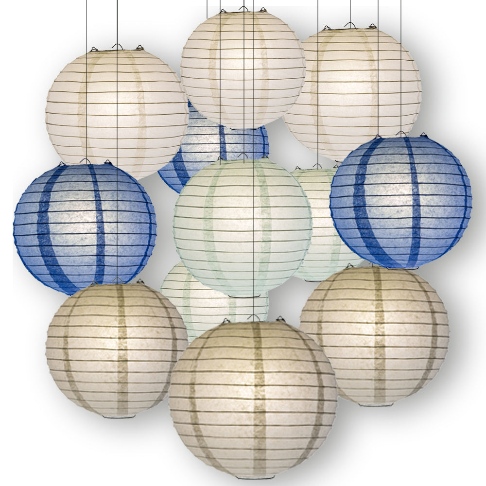 Winter Celebration Party Pack Parallel Ribbed Paper Lantern Combo Set (12 pc Set)