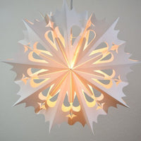 "3-PACK + Cord | White Angelo 20"" Pizzelle Designer Illuminated Paper Star Lanterns and Lamp Cord Hanging Decorations"
