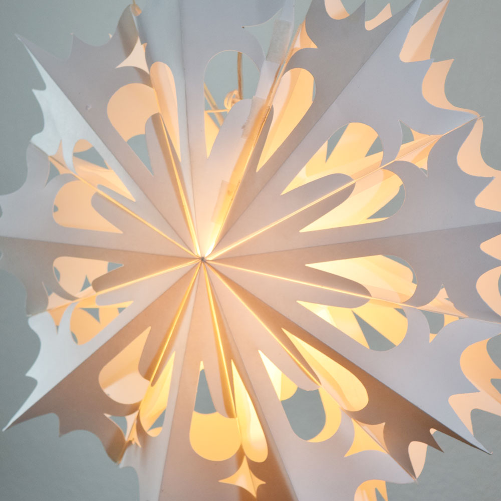 BLOWOUT Quasimoon Pizzelle Paper Star Lantern (20-Inch, White, Winter Angel Snowflake Design) - Great With or Without Lights - Holiday Snowflake Decorations