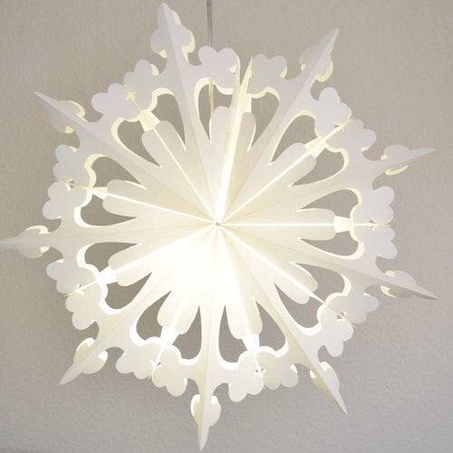 "3-PACK + Cord | White Semplice 23"" Pizzelle Designer Illuminated Paper Star Lanterns and Lamp Cord Hanging Decorations"
