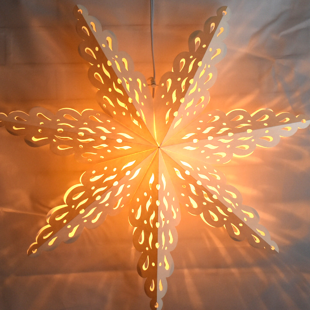 Quasimoon Pizzelle Paper Star Lantern (24-Inch, White, Holiday Spirit Snowflake Design) - Great With or Without Lights - Holiday Snowflake Decorations - PaperLanternStore.com - Paper Lanterns, Decor, Party Lights & More