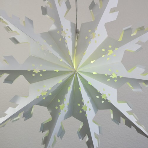 "3-PACK + Cord | White Winter Peppermint 24"" Pizzelle Designer Illuminated Paper Star Lanterns and Lamp Cord Hanging Decorations"
