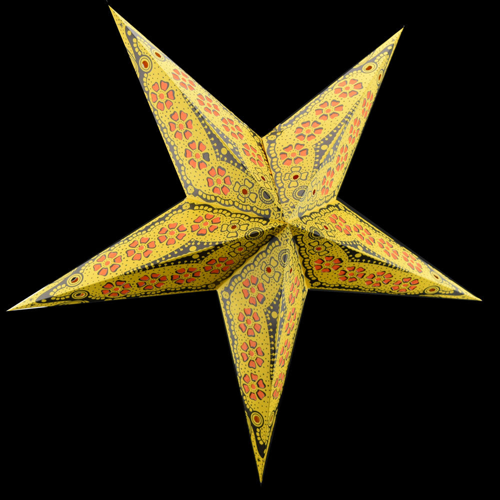 "24"" Yellow Flower Cut Paper Star Lantern, Chinese Hanging Wedding & Party Decoration"