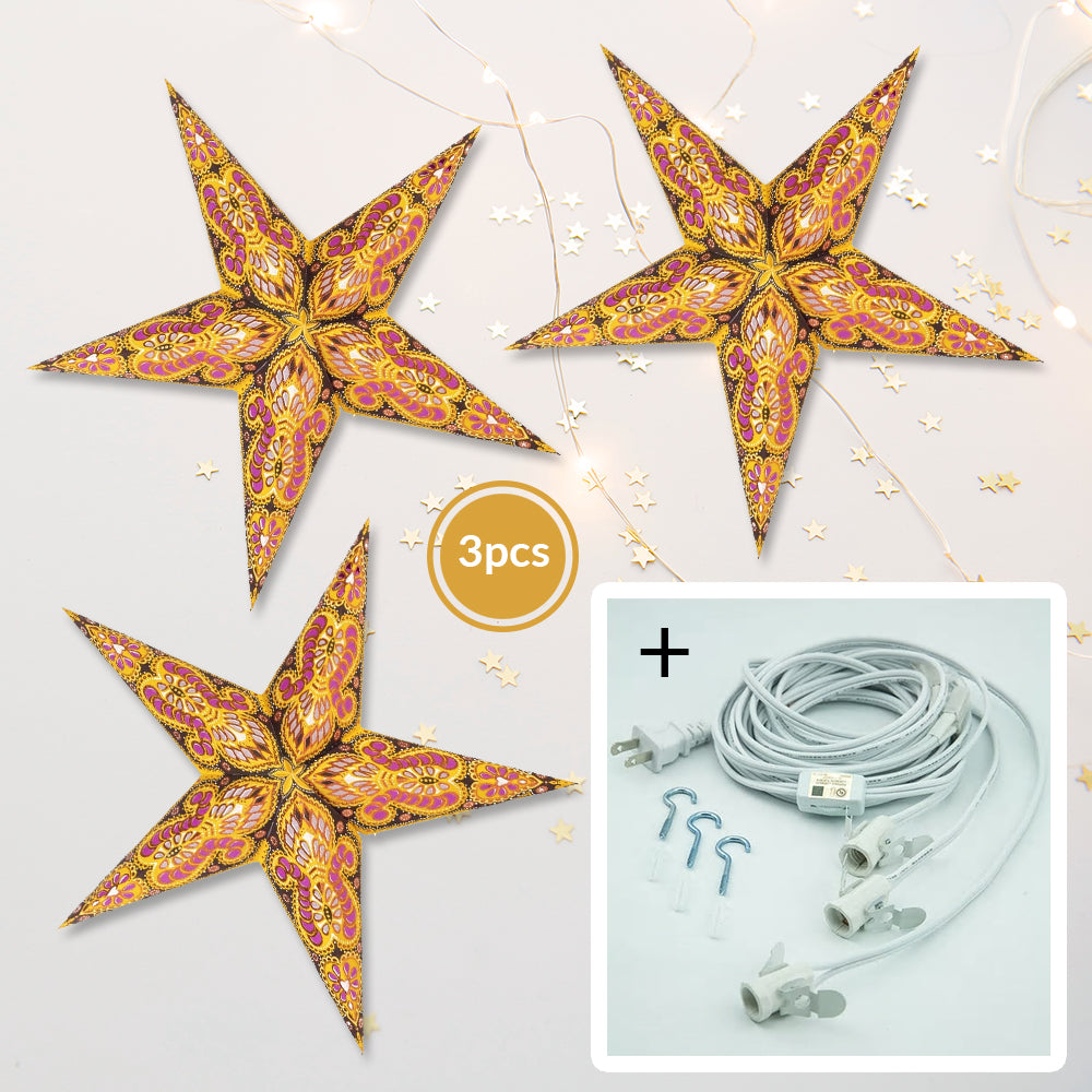 "BLOWOUT 3-PACK + Cord | Yellow Peacock Glitter 24"" Illuminated Paper Star Lanterns and Lamp Cord Hanging Decorations"