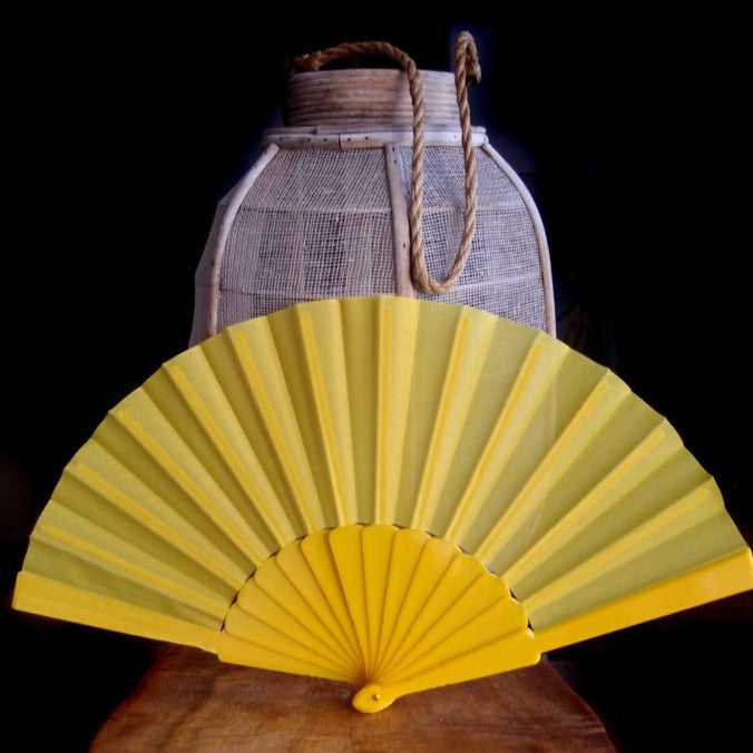"9"" Yellow Nylon Hand Fans for Weddings (10 Pack) - PaperLanternStore.com - Paper Lanterns, Decor, Party Lights & More"