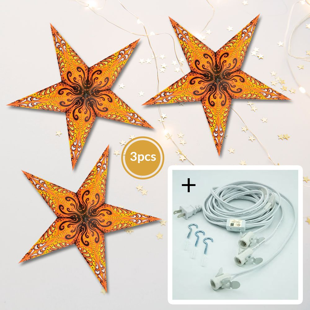 "3-PACK + Cord | Yellow Splash 24"" Illuminated Paper Star Lanterns and Lamp Cord Hanging Decorations"