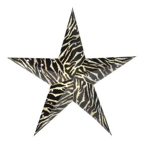 "3-PACK + Cord | Zebra 24"" Illuminated Paper Star Lanterns and Lamp Cord Hanging Decorations"
