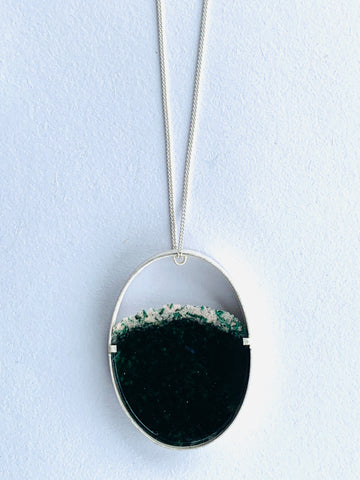 Long Oval Dust Pendant Forest Green