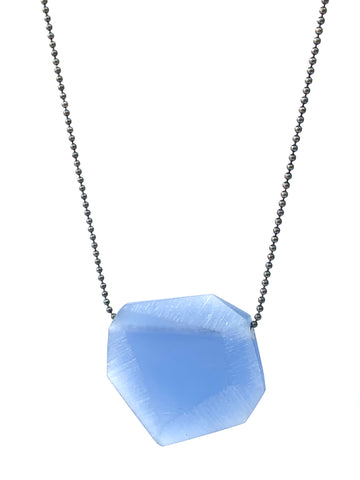 Facet Pendant (Small) Mid Blue Oxidised