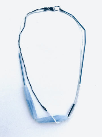Layer Facet Necklace Mid Blue