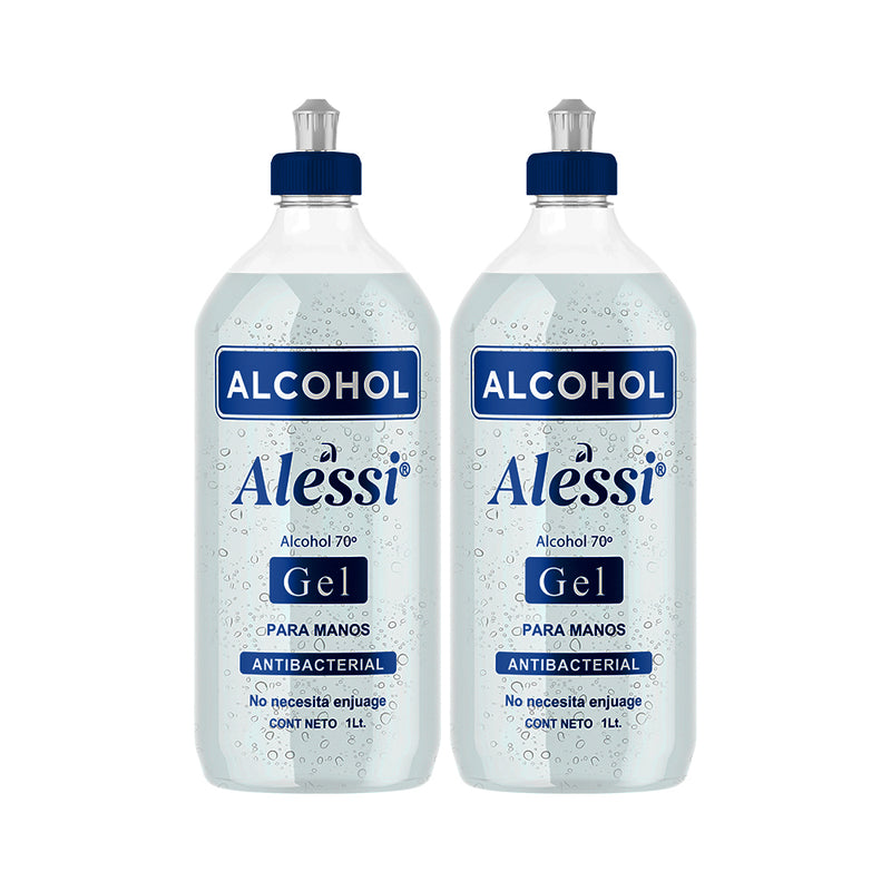 Alessi - 2 Pack Alcohol Gel Anti-Bacterial 70% - 1 lt. c/u