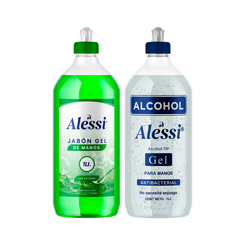 Alessi - 2 Pack Alcohol Gel Anti-Bacterial 70% y Jabón Gel para Manos - 1 lt. c/u