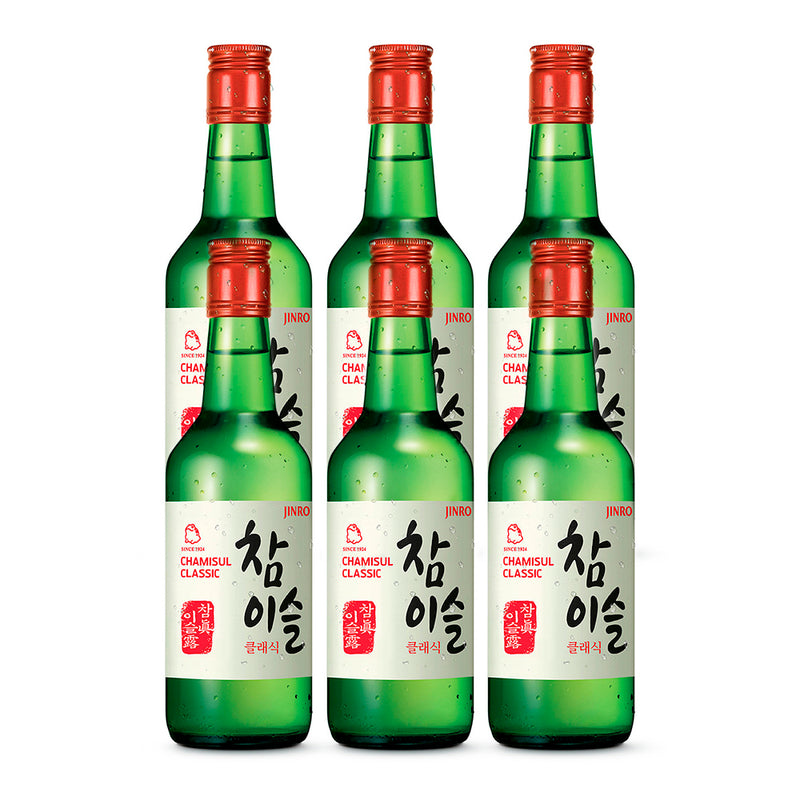 Jinro Chamisul - 6 Pack - Soju Classic - 20.1% alcohol - 360 ml.