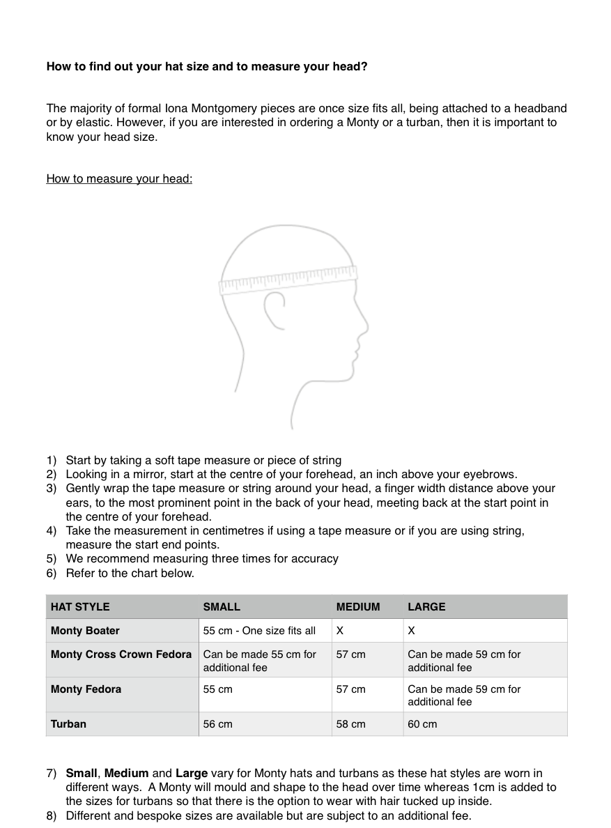 Iona Montgomery Millinery Hat size Chart