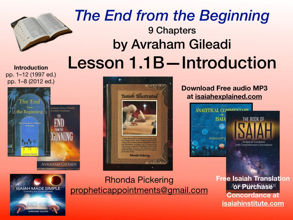 Isaiah Class 1 (1.1B) Isaiah Class Introduction (1 hr 17 min)