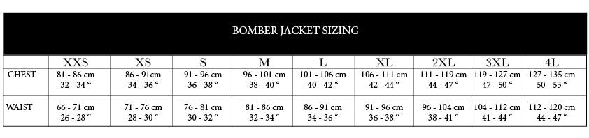 No Fixed Abode Luxury Streetwear Mens Bomber Jacket Size Chart