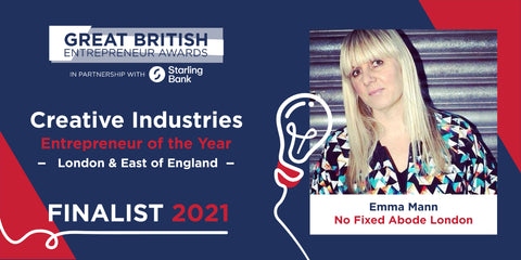 Emma the founder No Fixed Abode of London for Creative Industries Entrepreneur of the Year category at the 2021 Great British Entrepreneur Awards London