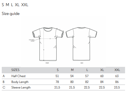 No Fixed Abode Luxury Streetwear Raw Edge Mens T-shirt Size Chart